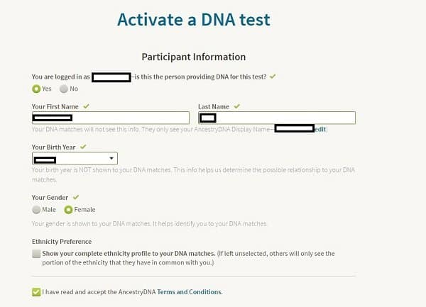 Ancestry DNA activation page