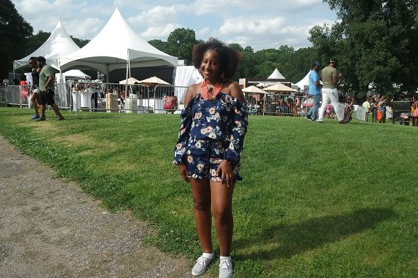 Ruffle High-neck Romper with Fulani Braids at Curlfest NYC