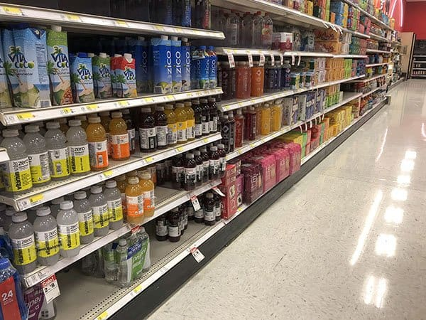 Vitamin Water in the water aisle