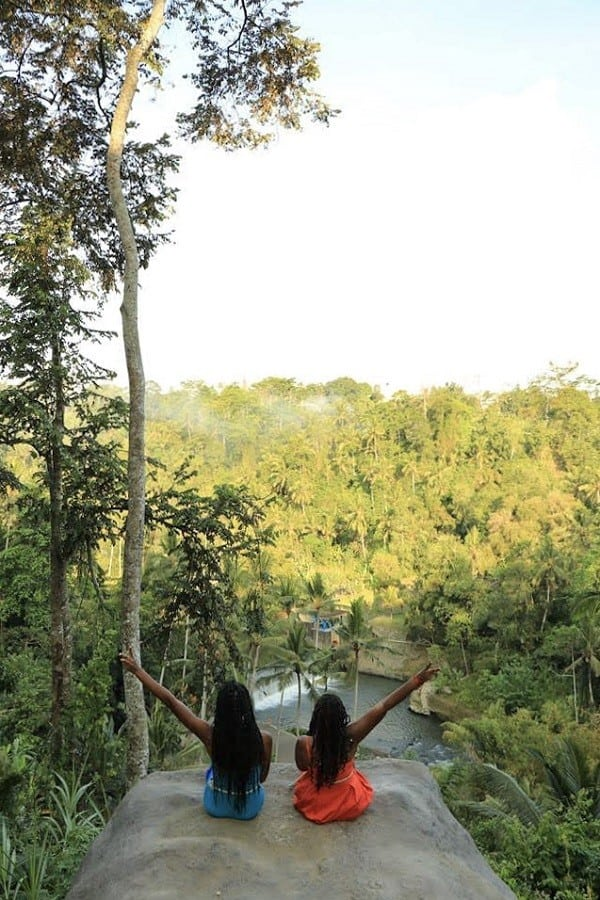 Ubud Bali Swing stone over the edge above the valley